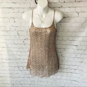 H.i.p. Happenings in the Past gold sequin top xs